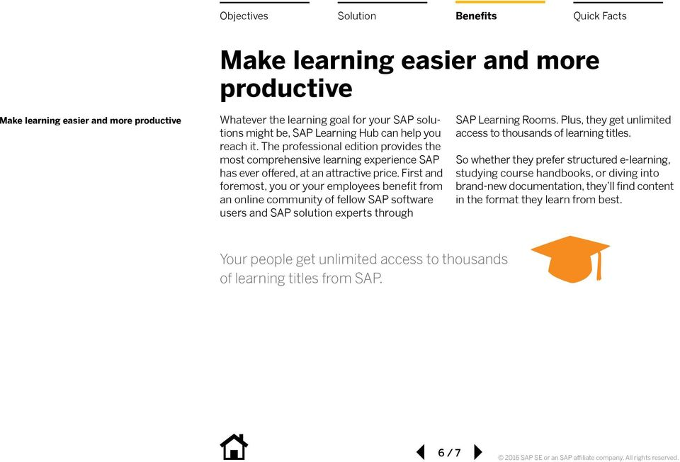 First and foremost, you or your employees benefit from an online community of fellow SAP software users and SAP solution experts through SAP Learning Rooms.