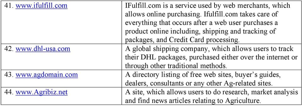dhl-usa.com A global shipping company, which allows users to track their DHL packages, purchased either over the internet or through other traditional methods. 43. www.