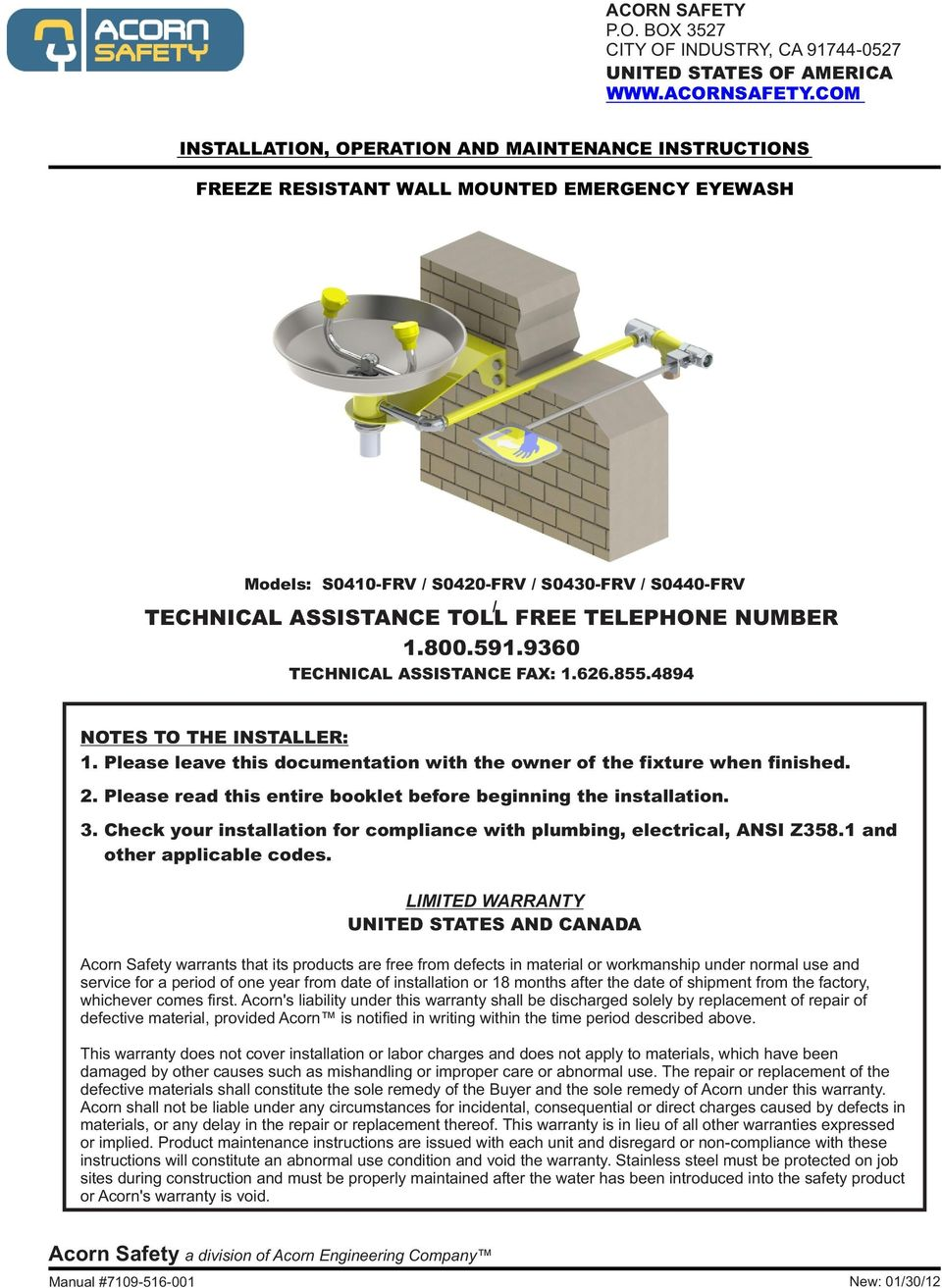 TECHNICAL ASSISTANCE TOLL FREE TELEPHONE NUMBER TECHNICAL