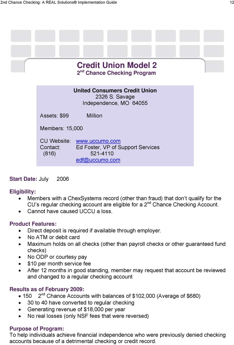 TRANSACTION PRODUCTS 2nd Chance Checking for Credit Unions - PDF