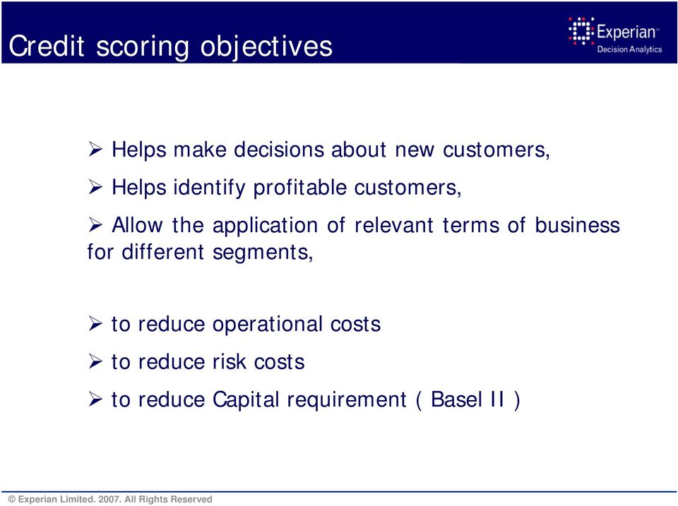 relevant terms of business for different segments, to reduce