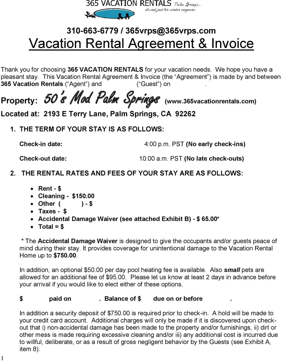 Vacation Rental Agreement Invoice Pdf