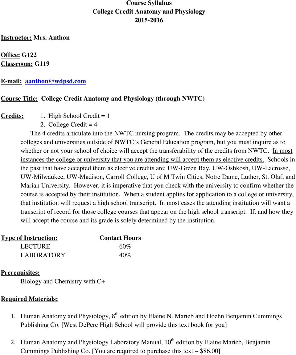 Course Syllabus College Credit Anatomy and Physiology - PDF