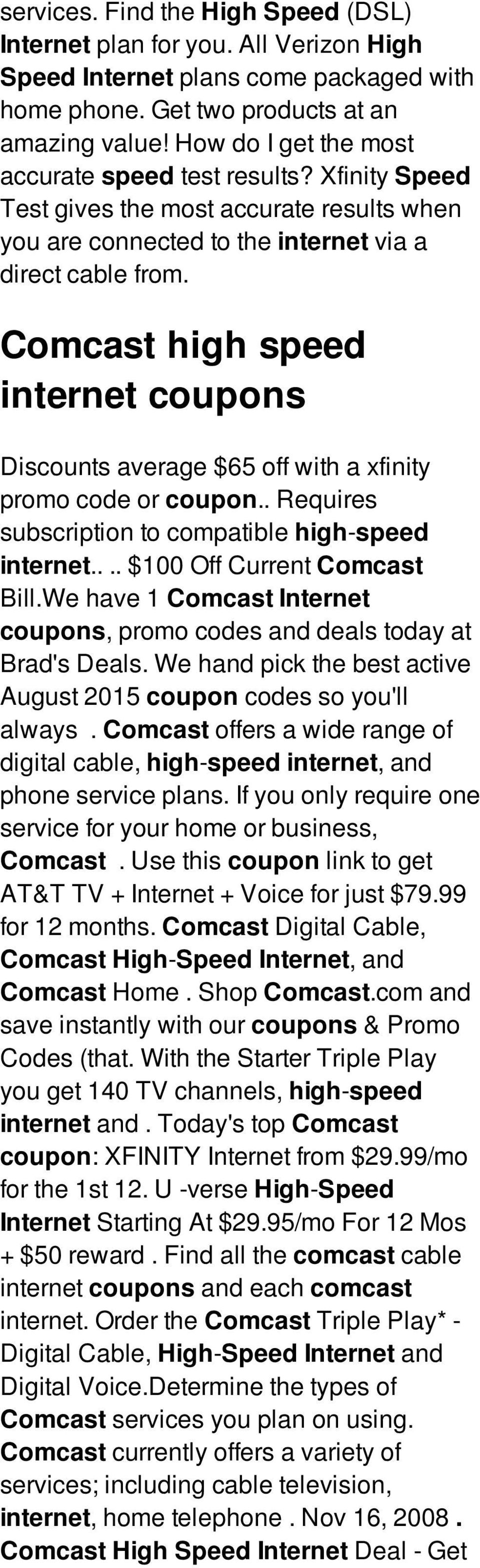 Comcast Internet Deals >> Comcast High Speed Internet Coupons Aarvee Investments