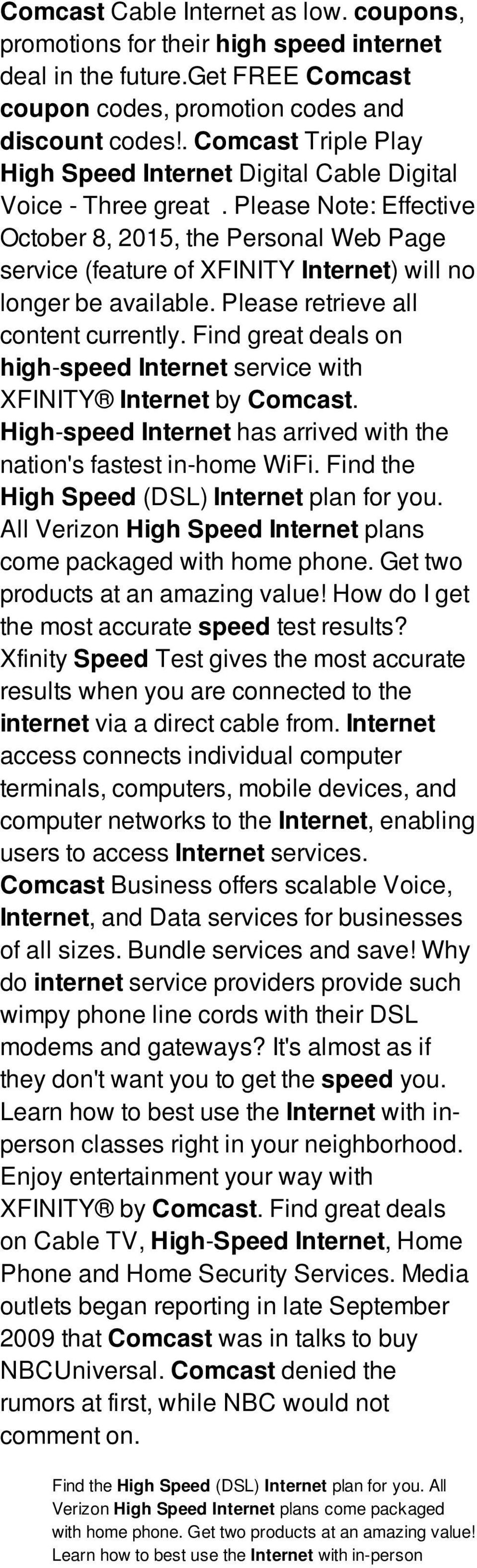 Comcast high speed internet coupons: aarvee investments nigeria