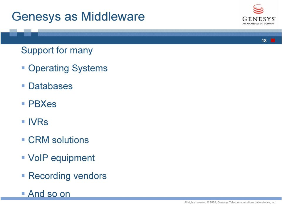 Databases PBXes IVRs CRM solutions