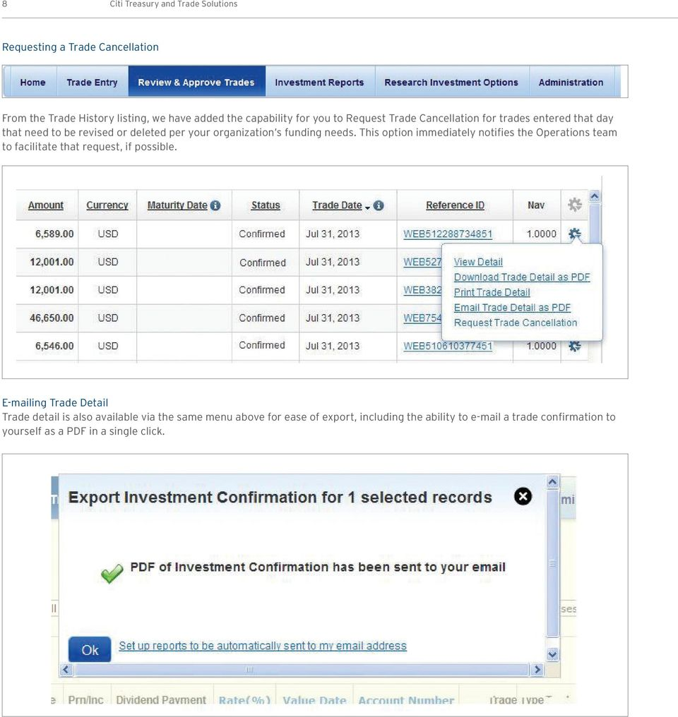 Citibank Online Investments  Release News November 9, Treasury and