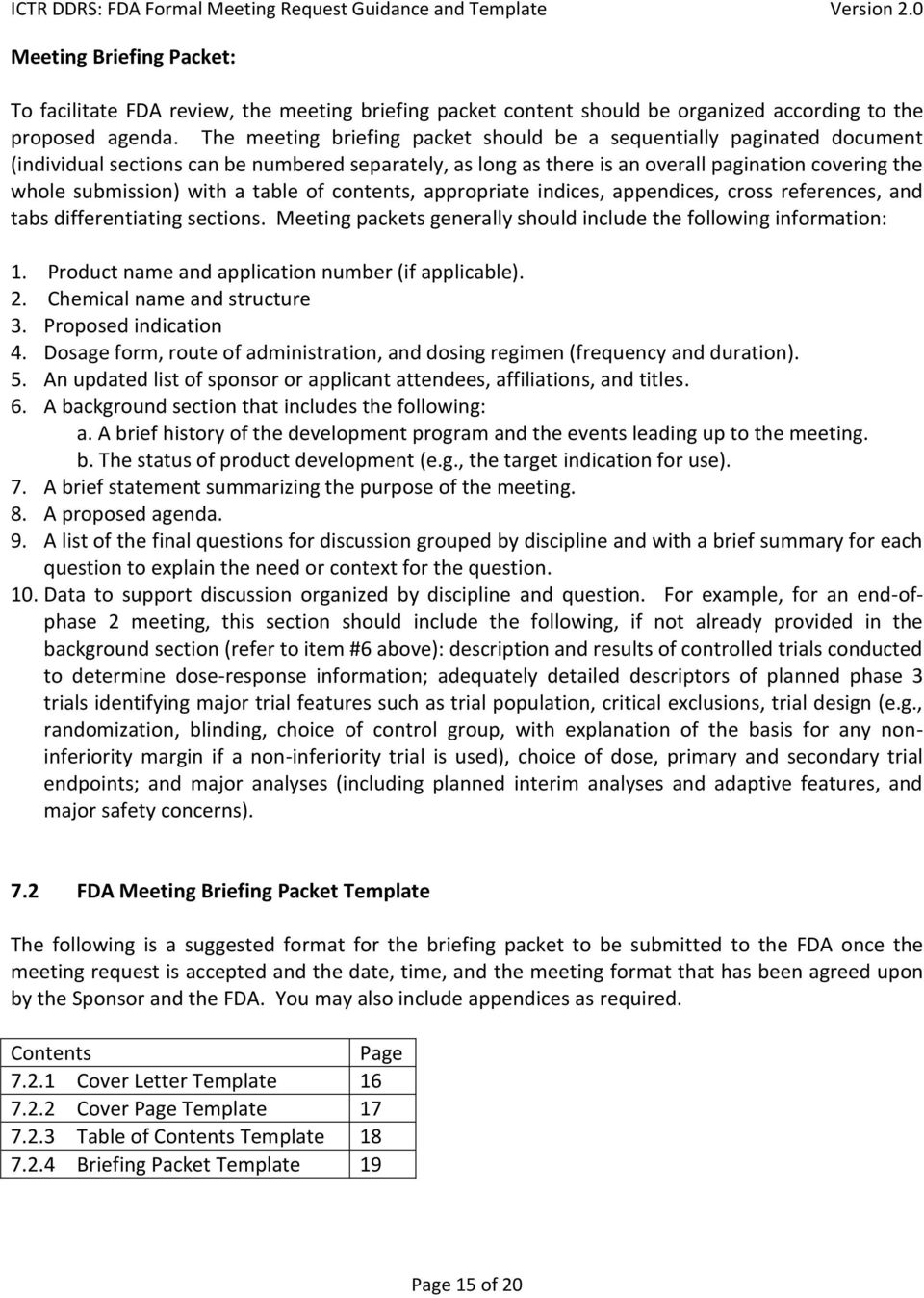 formal fda meeting request guidance and template pdf