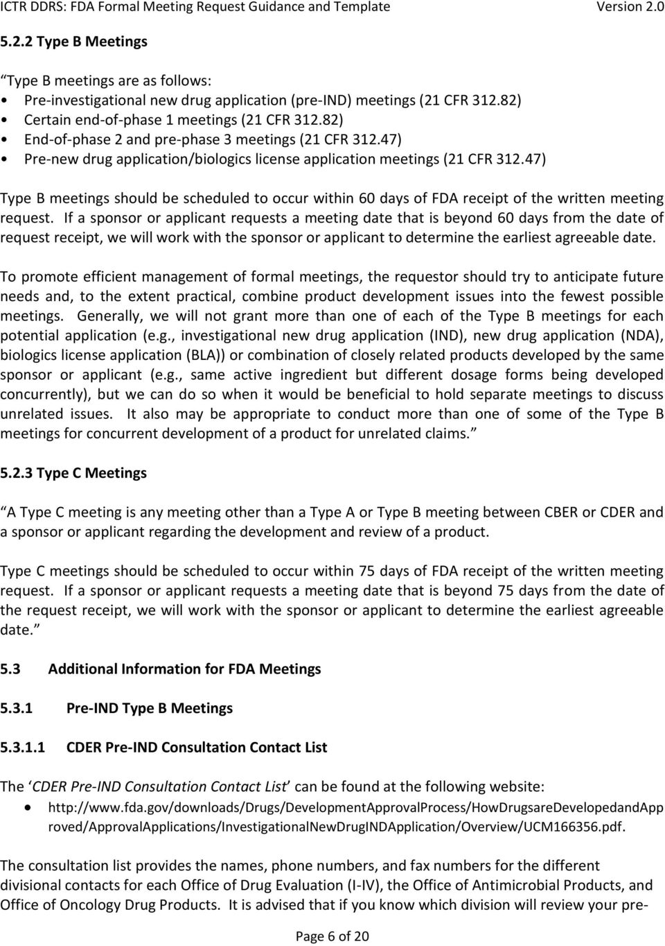 Formal FDA Meeting Request: Guidance and Template - PDF