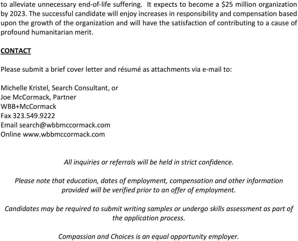 Compassion Choices Chief Program Officer Recruitment Profile Pdf