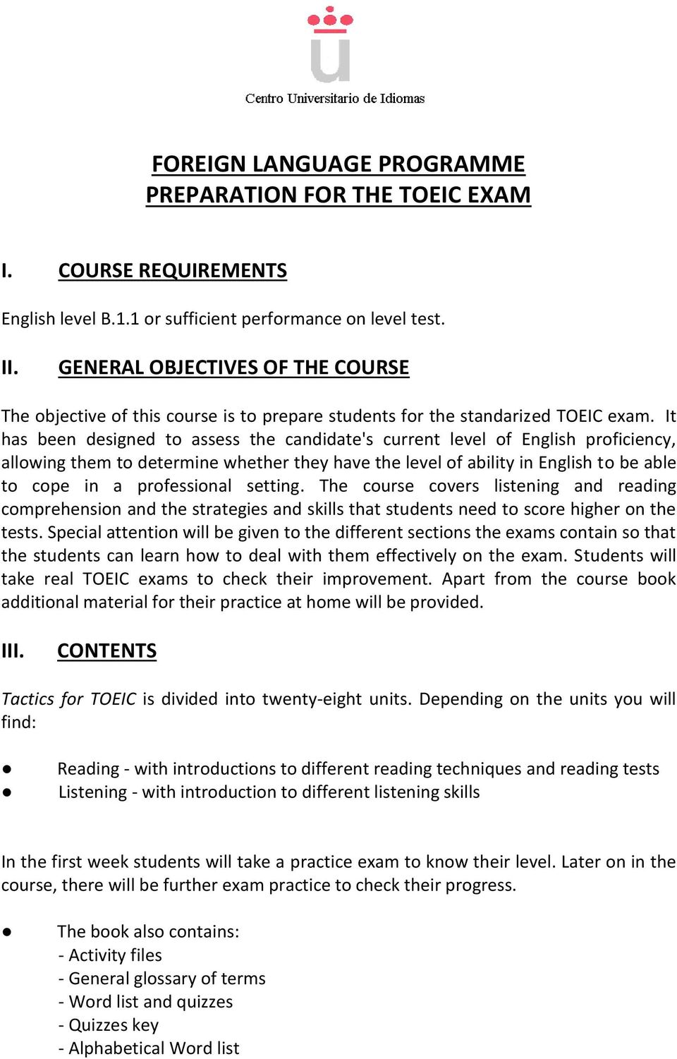 FOREIGN LANGUAGE PROGRAMME PREPARATION FOR THE TOEIC EXAM - PDF