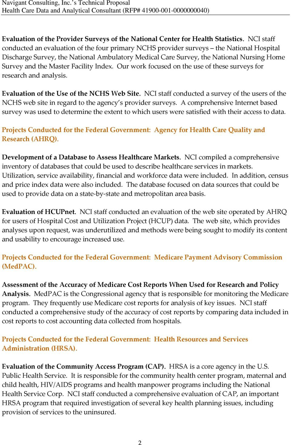 Navigant Consulting, Inc  s Technical Proposal Health Care