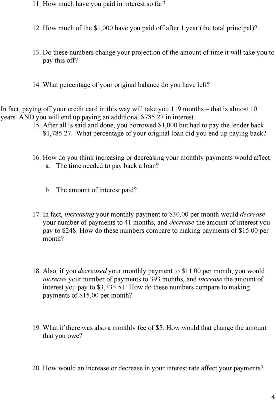 Credit Card Loans Student Worksheet Pdf Free Download