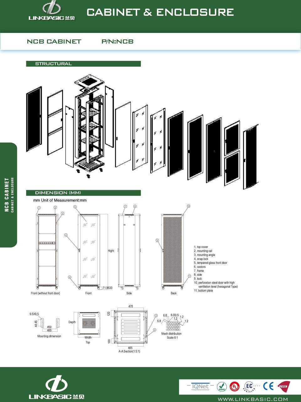 7, frame 8, side 9, lock 0, perforation steel door with high ventilation level (hexagonal Type), bottom plate