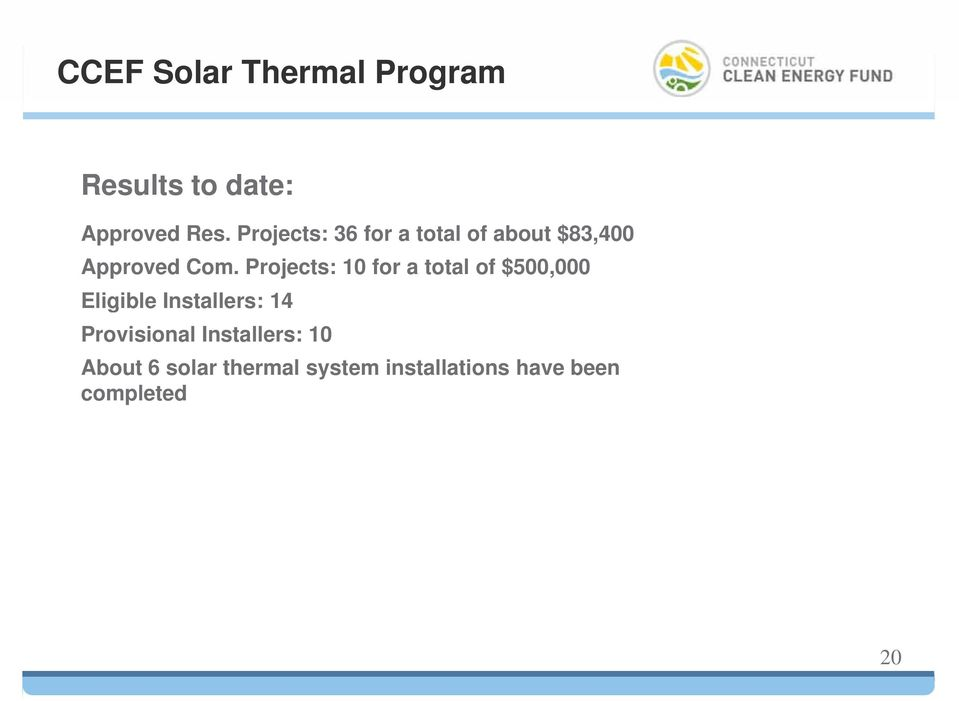 Projects: 10 for a total of $500,000 Eligible Installers: 14
