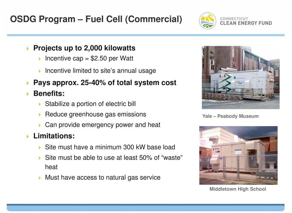 25-40% of total system cost Benefits: Stabilize a portion of electric bill Reduce greenhouse gas emissions Can provide