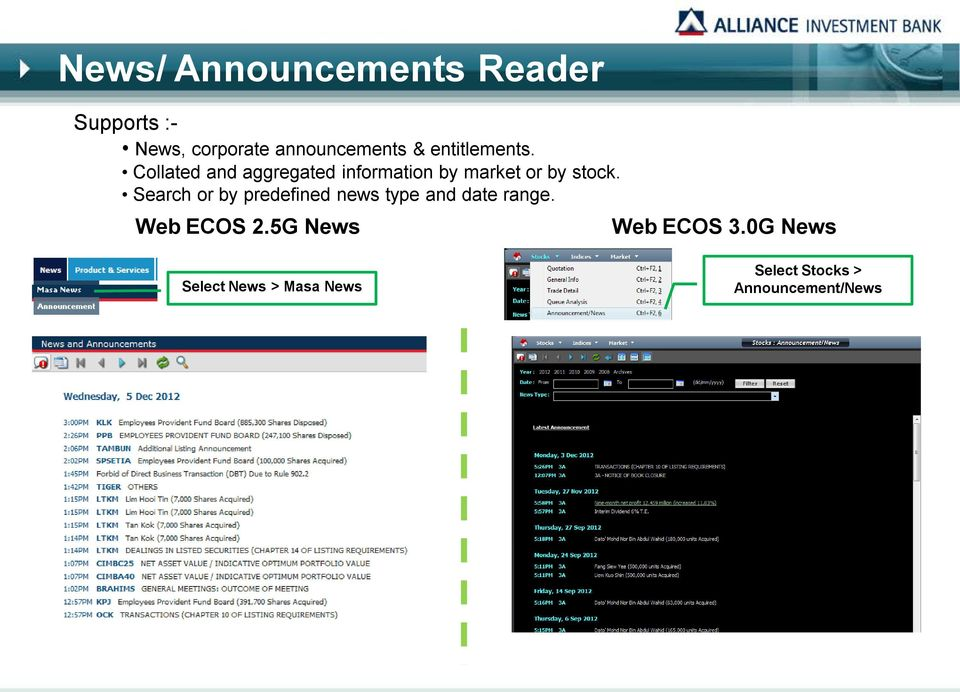 Search or by predefined news type and date range. Web ECOS 2.