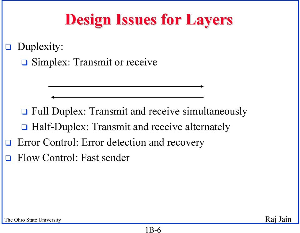 Half-Duplex: Transmit and receive alternately q Error