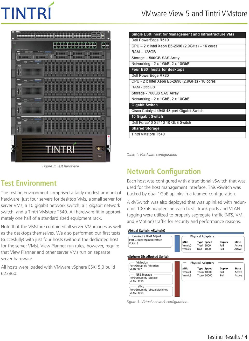 Tintri VMstore T540. All hardware fit in approximately one half of a standard sized equipment rack. Note that the VMstore contained all server VM images as well as the desktops themselves.
