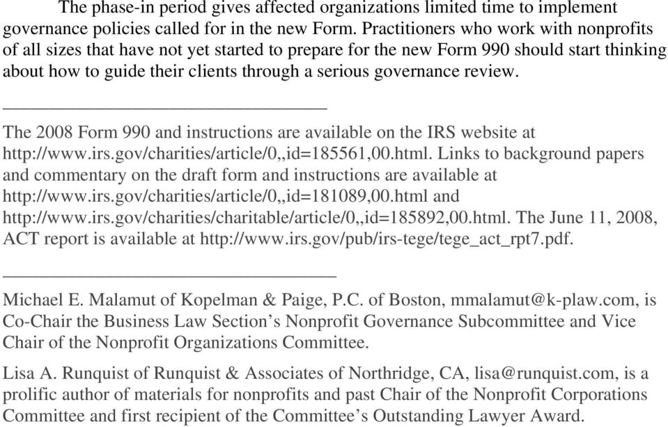 Governance Challenges For Nonprofits Posed By The New Irs Form 990