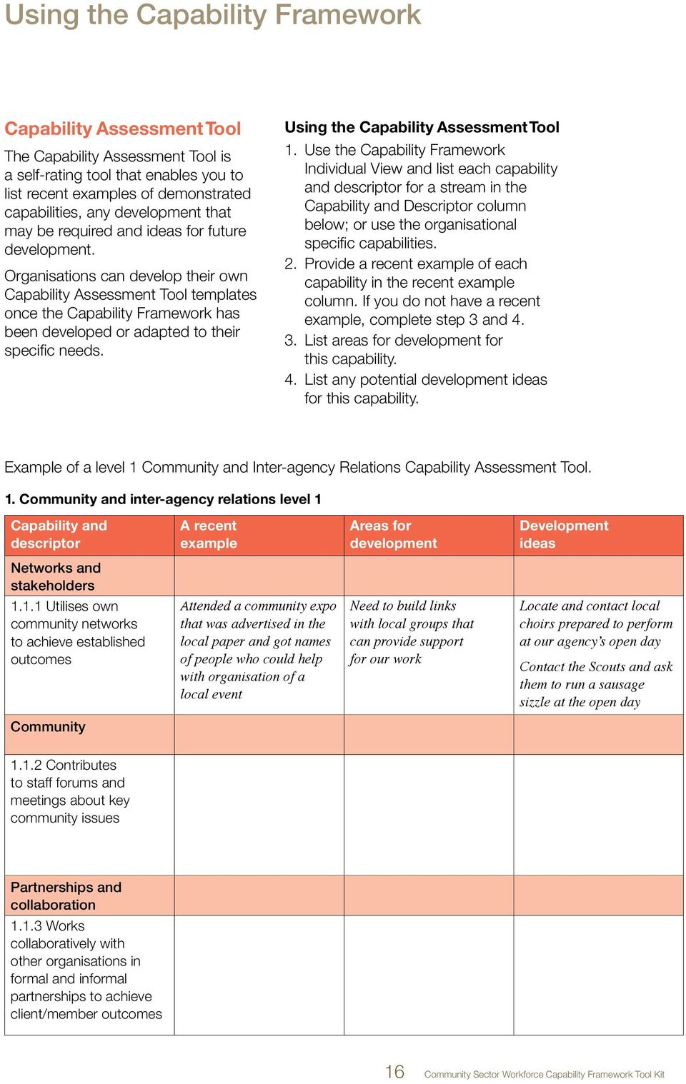 Organisations can develop their own Capability Assessment Tool templates once the Capability Framework has been developed or adapted to their specific needs. Using the Capability Assessment Tool 1.