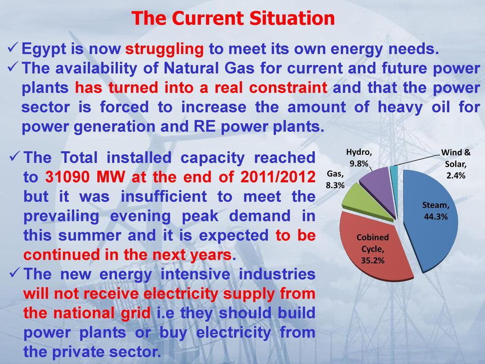 generation and RE power plants.