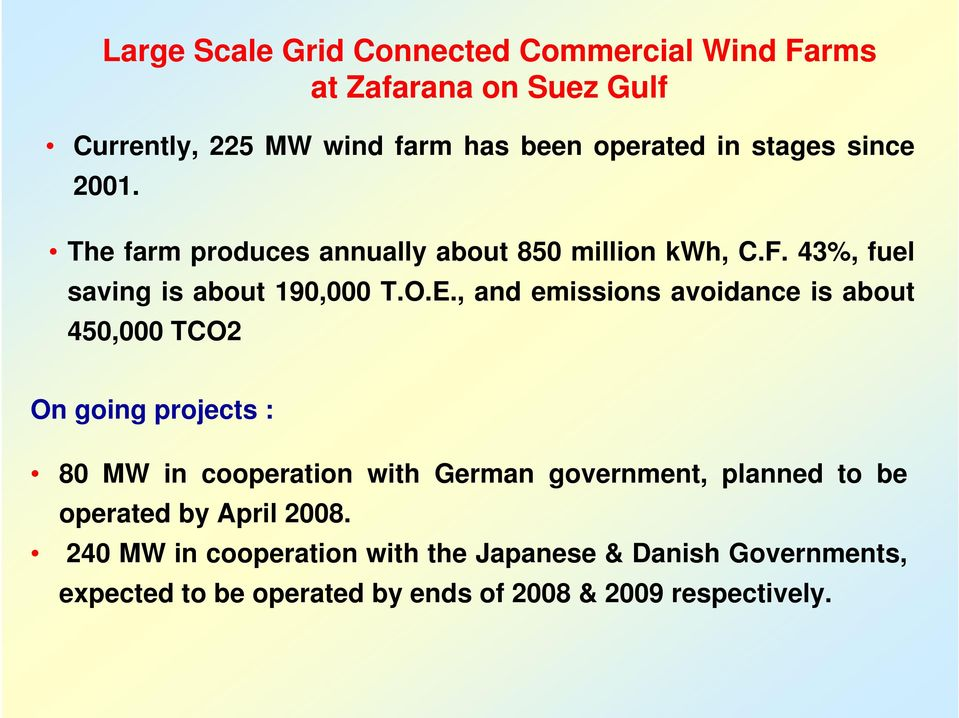 , and emissions avoidance is about 450,000 TCO2 On going projects : 80 MW in cooperation with German government, planned to be