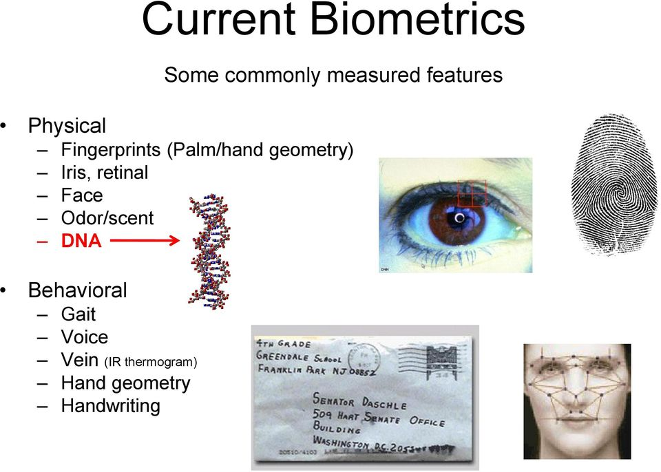 geometry) Iris, retinal Face Odor/scent DNA