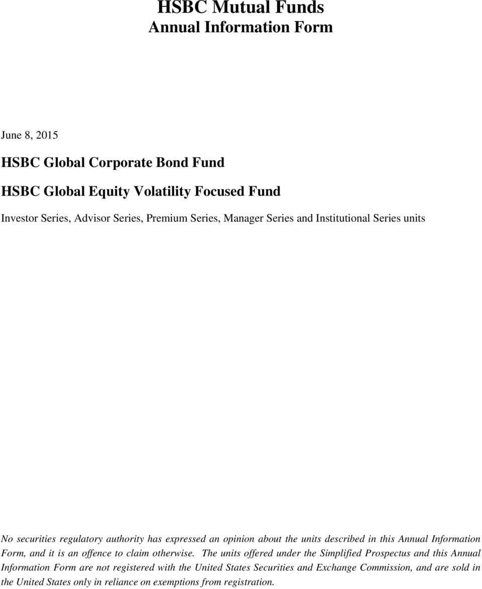 HSBC Mutual Funds Annual Information Form - PDF