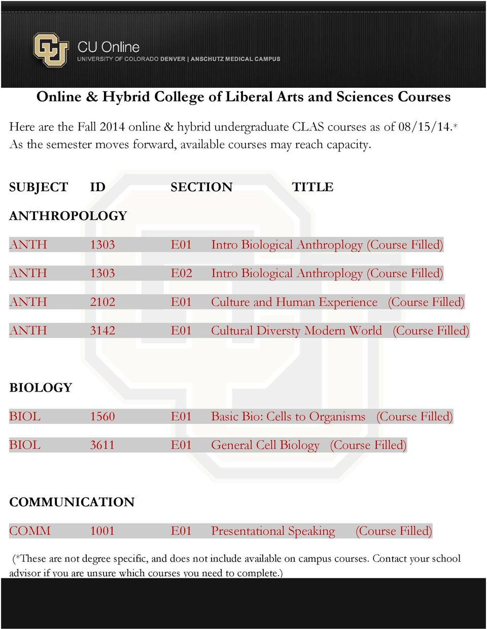 Filled) ANTH 3142 E01 Cultural Diversty Modern World (Course Filled) BIOLOGY BIOL 1560 E01 Basic Bio: Cells to Organisms (Course Filled) BIOL 3611 E01 General Cell Biology (Course Filled)