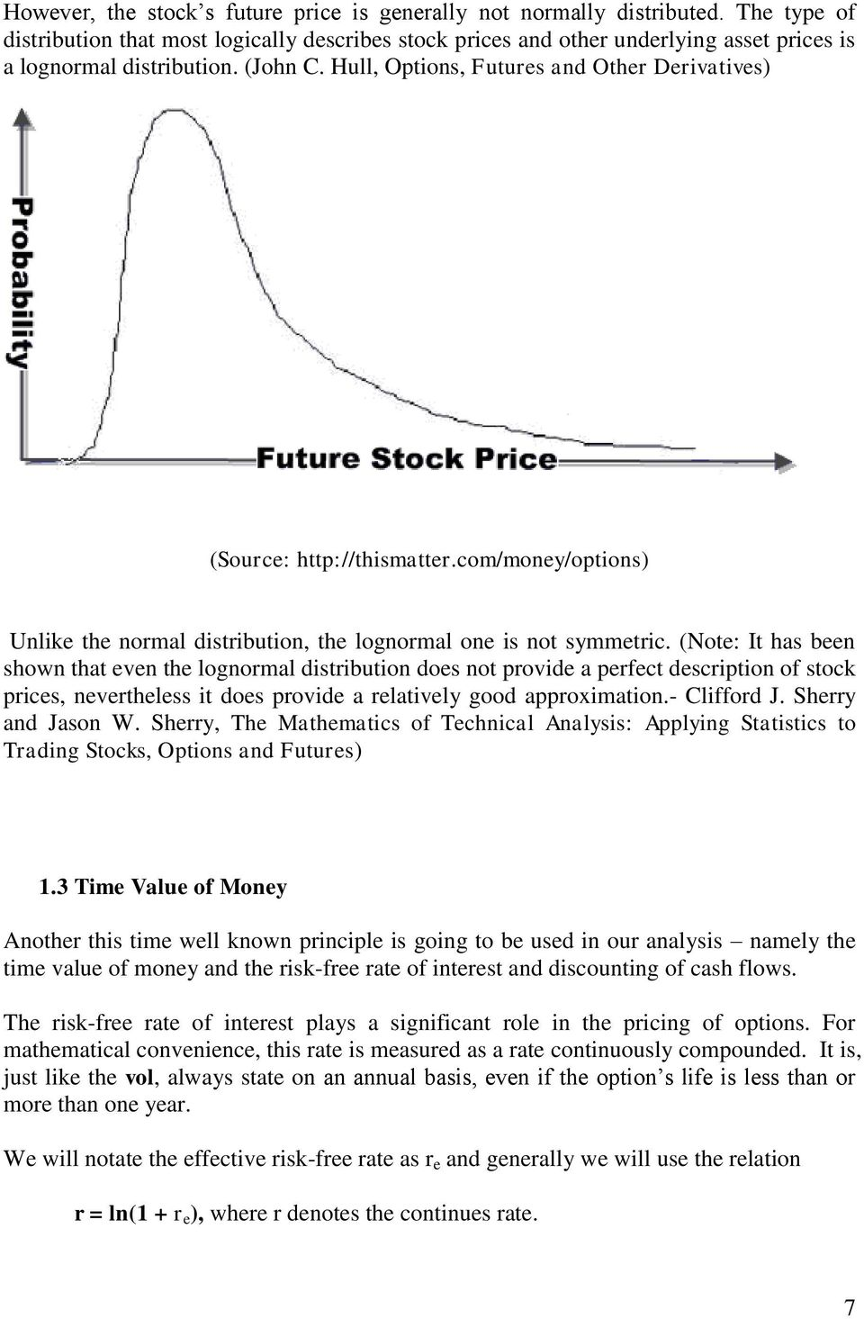 Hull, Options, Futures and Other Derivatives) (Source: http://thismatter.com/money/options) Unlike the normal distribution, the lognormal one is not symmetric.