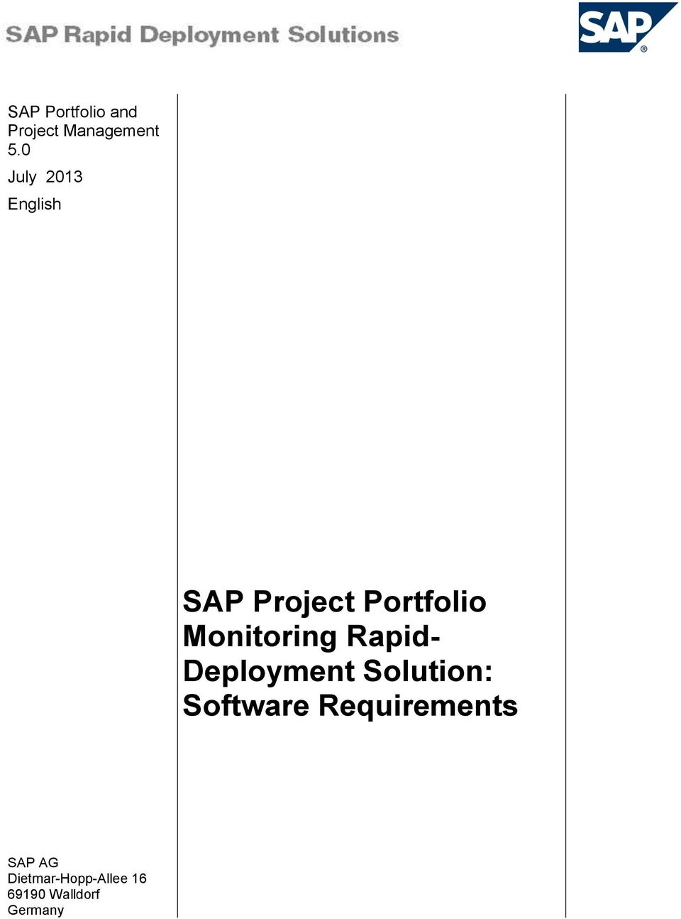 Monitoring Rapid- Deployment Solution: SAP