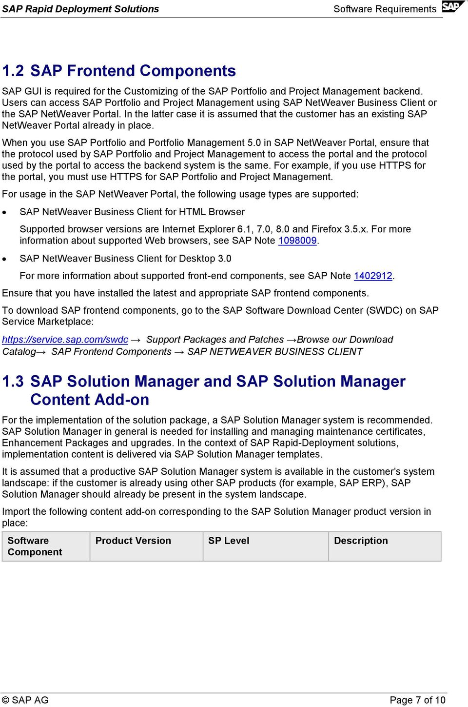 In the latter case it is assumed that the customer has an existing SAP NetWeaver Portal already in place. When you use SAP Portfolio and Portfolio Management 5.