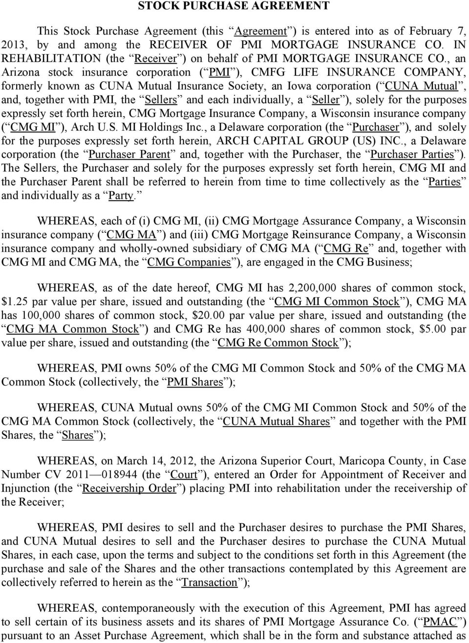 Stock Purchase Agreement By And Among The Receiver Of Pmi Mortgage