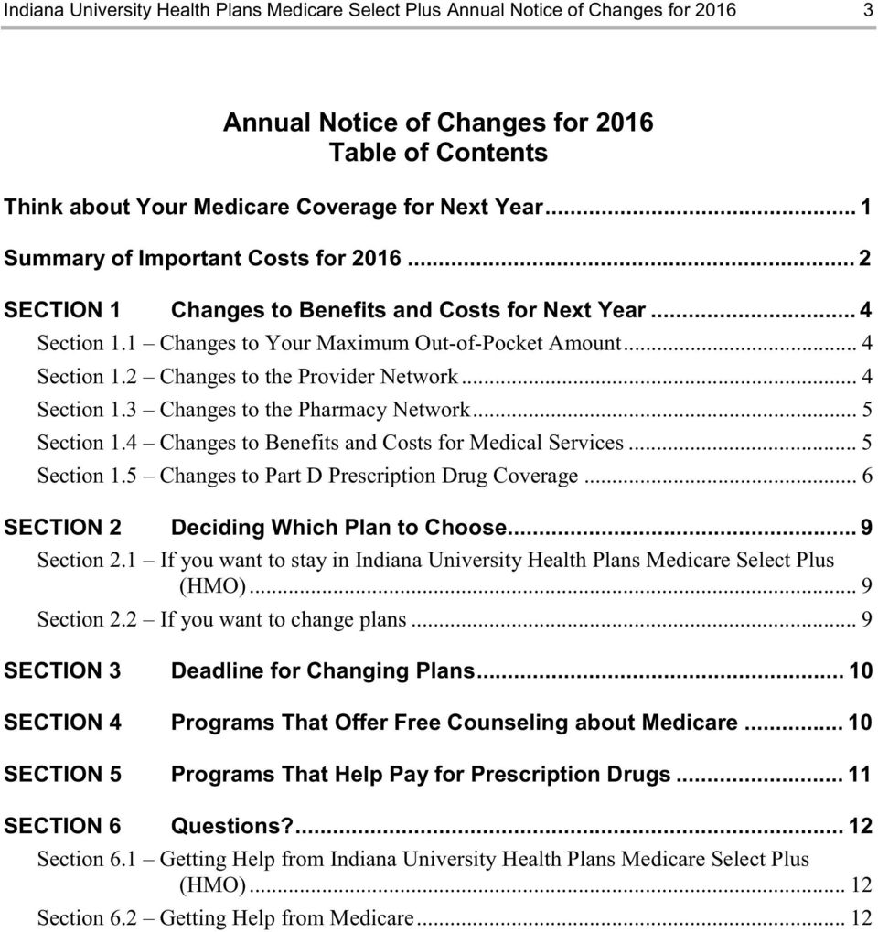 .. 4 Section 1.3 Changes to the Pharmacy Network... 5 Section 1.4 Changes to Benefits and Costs for Medical Services... 5 Section 1.5 Changes to Part D Prescription Drug Coverage.