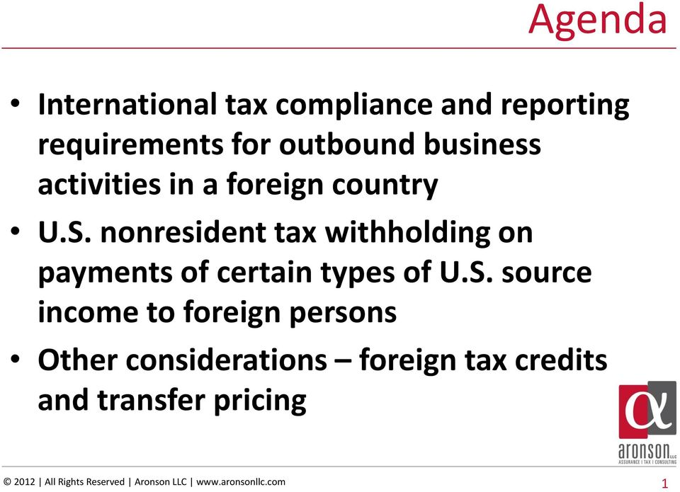 nonresident tax withholding on payments of certain types of U.S.