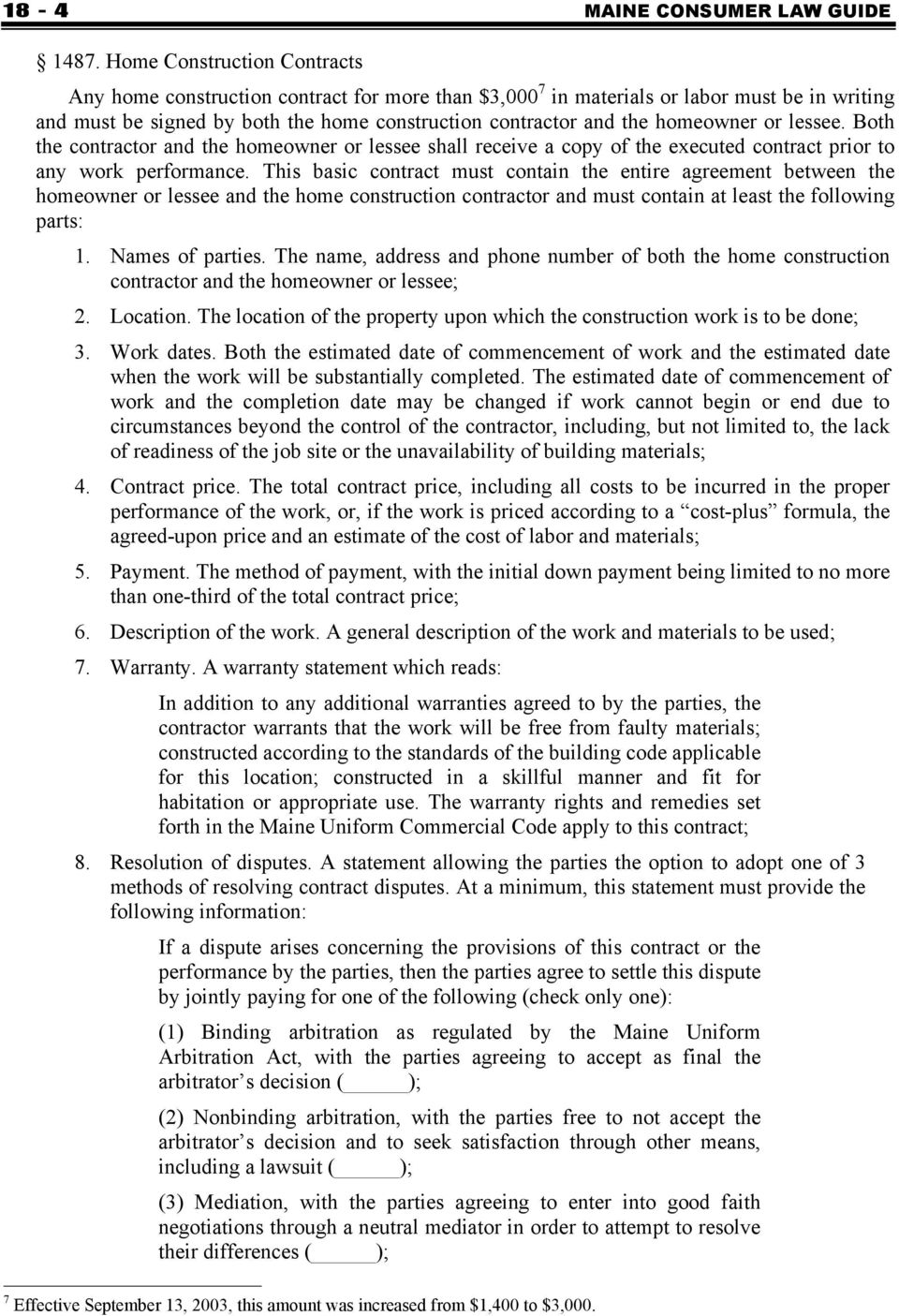 Attorney General S Model Home Construction Or Repair Contract Pdf