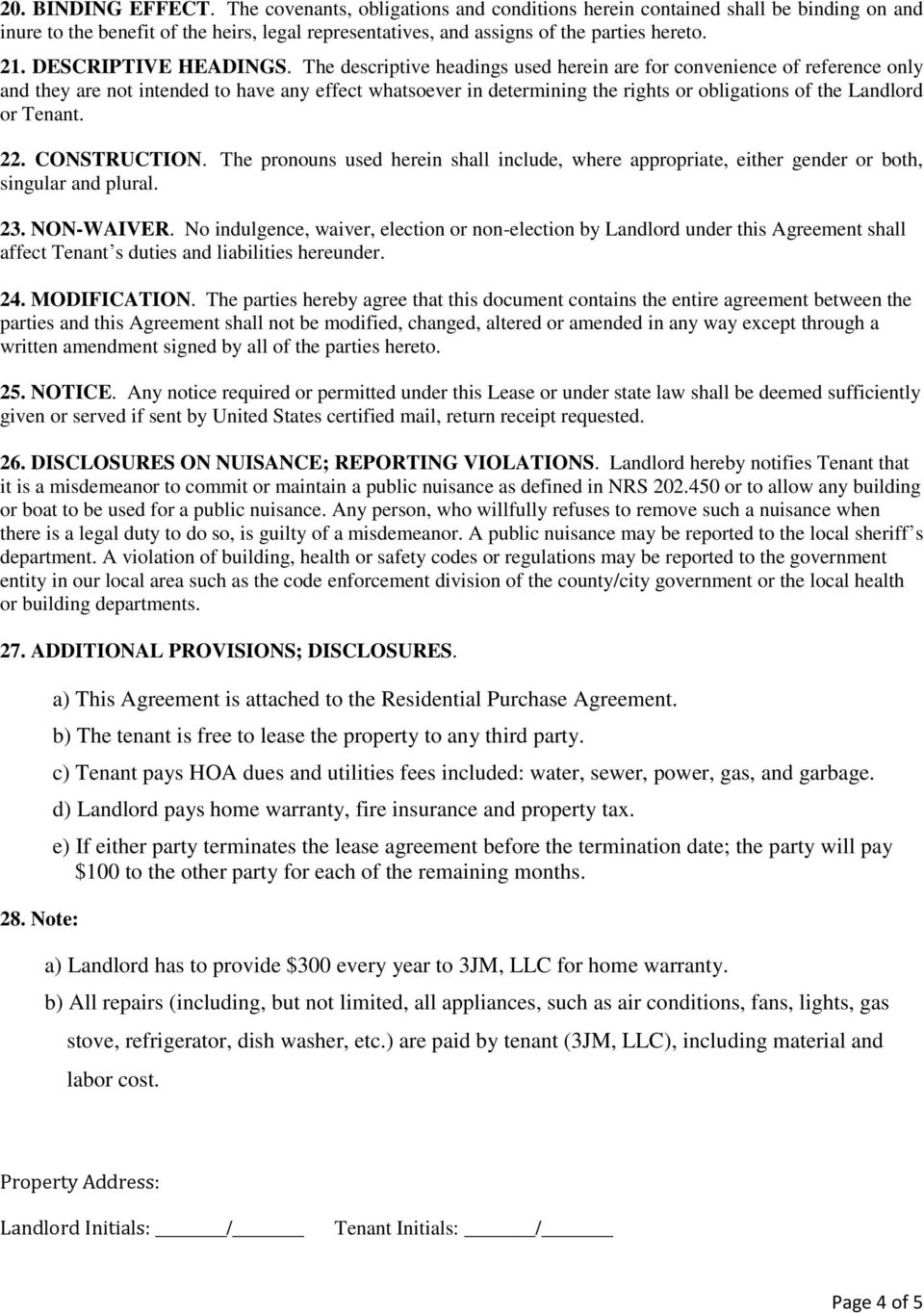 Residential Lease Agreement Pdf