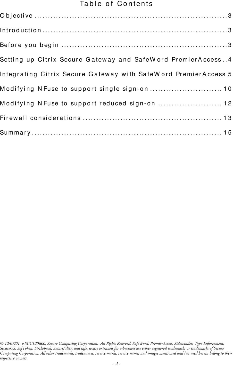 .4 Integrating Citrix Secure Gateway with SafeWord PremierAccess 5 Modifying NFuse to