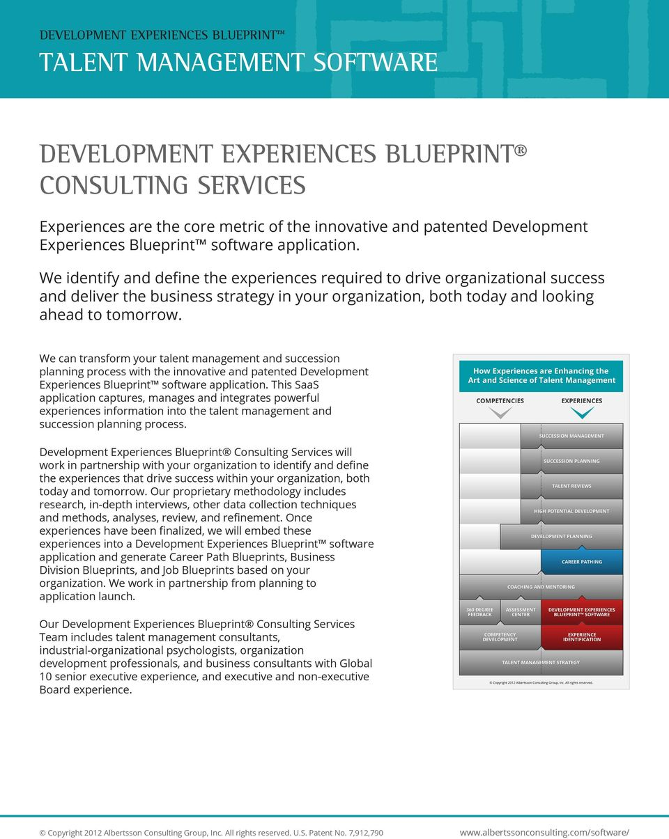 We can transform your talent management and succession planning process with the innovative and patented Development Experiences Blueprint software application.