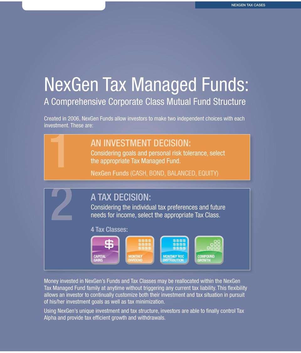 NexGen Funds (CASH, BOND, BALANCED, EQUITY) 2 A Tax Decision: Considering the individual tax preferences and future needs for income, select the appropriate Tax Class.