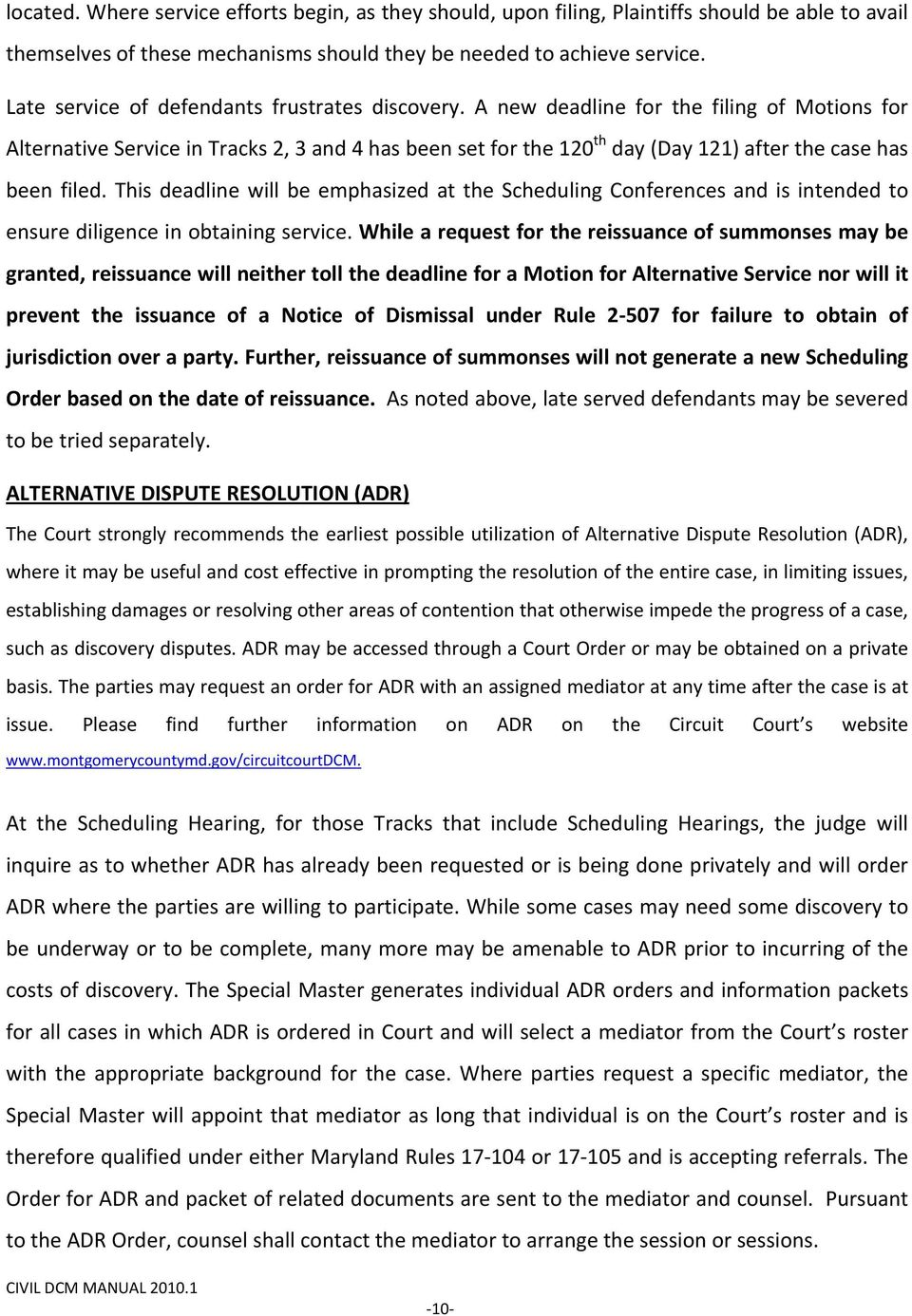CIRCUIT COURT FOR MONTGOMERY COUNTY, MARYLAND CIVIL DIFFERENTIATED