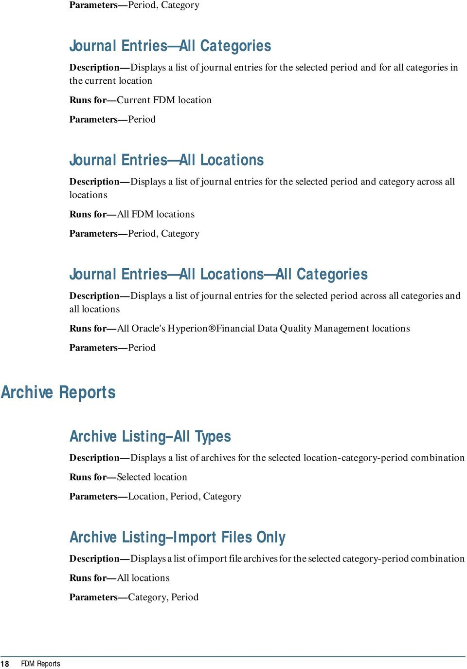 Entries All Locations All Categories Description Displays a list of journal entries for the selected period across all categories and all locations Runs for All Oracle's Hyperion Financial Data