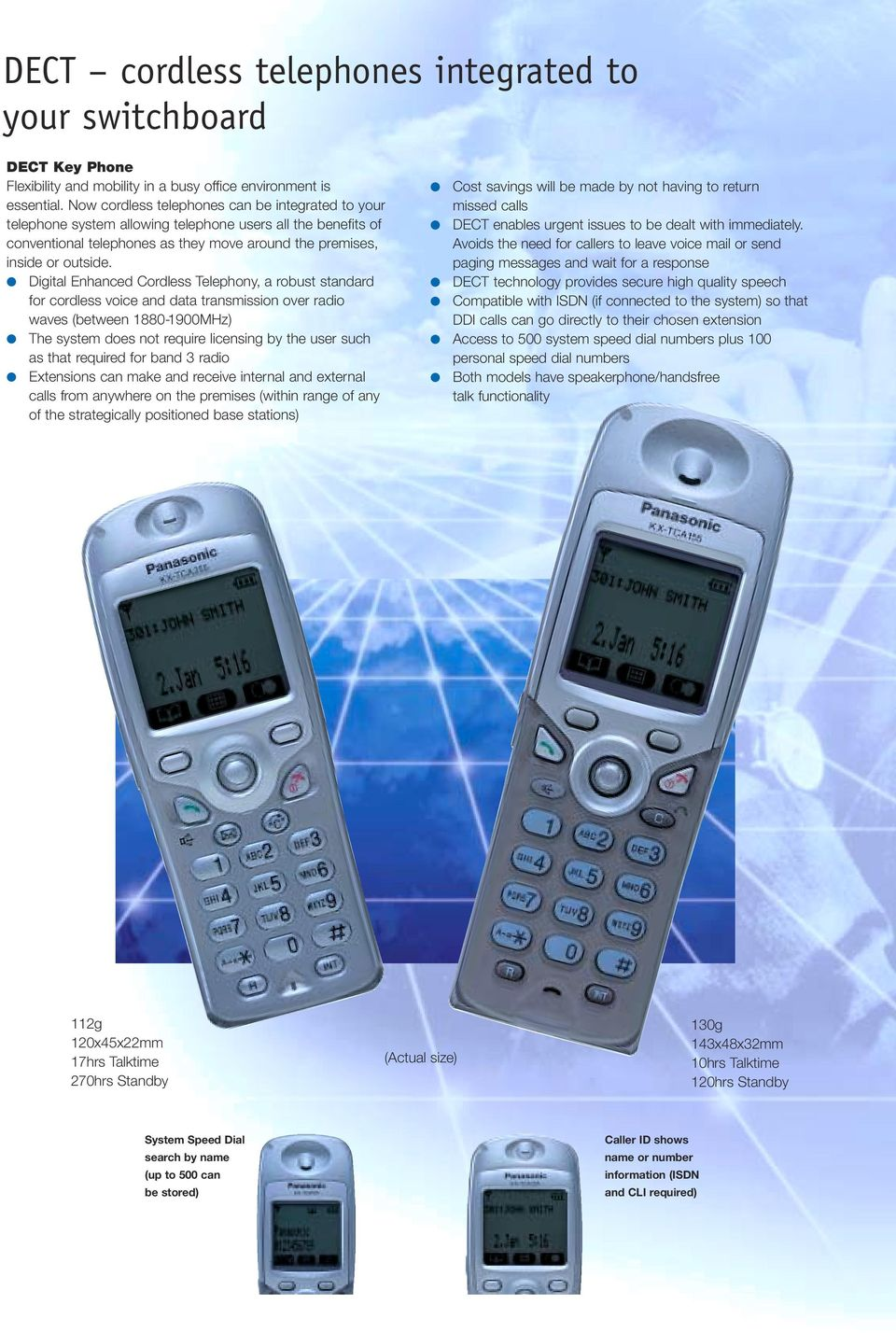 Digital Enhanced Cordless Telephony, a robust standard for cordless voice and data transmission over radio waves (between 1880-1900MHz) The system does not require licensing by the user such as that