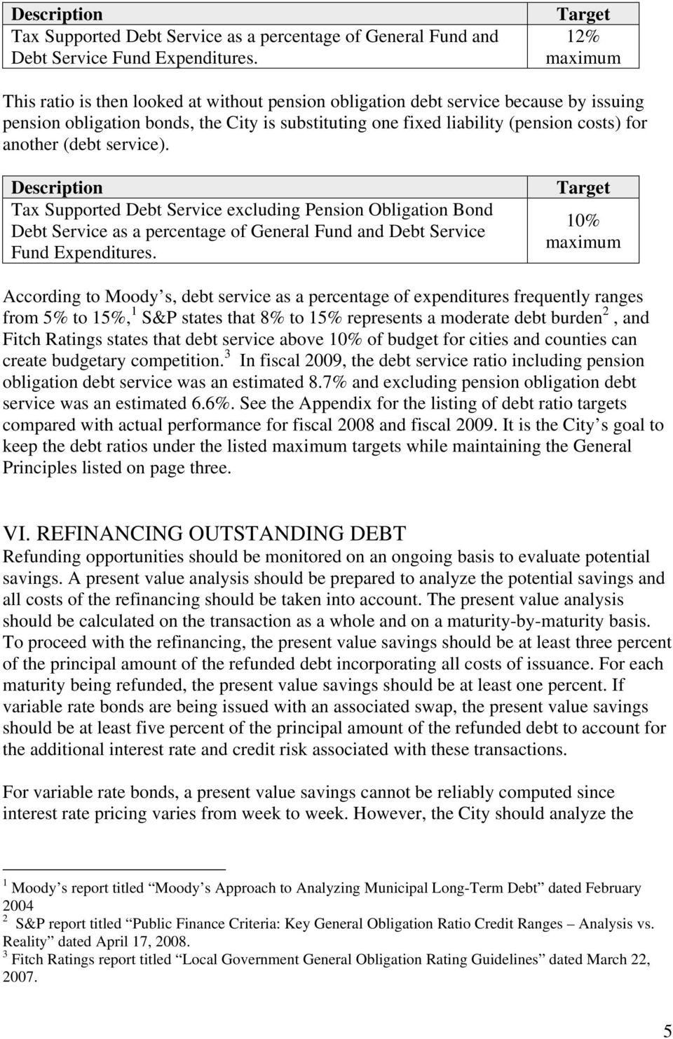 another (debt service). Description Tax Supported Debt Service excluding Pension Obligation Bond Debt Service as a percentage of General Fund and Debt Service Fund Expenditures.