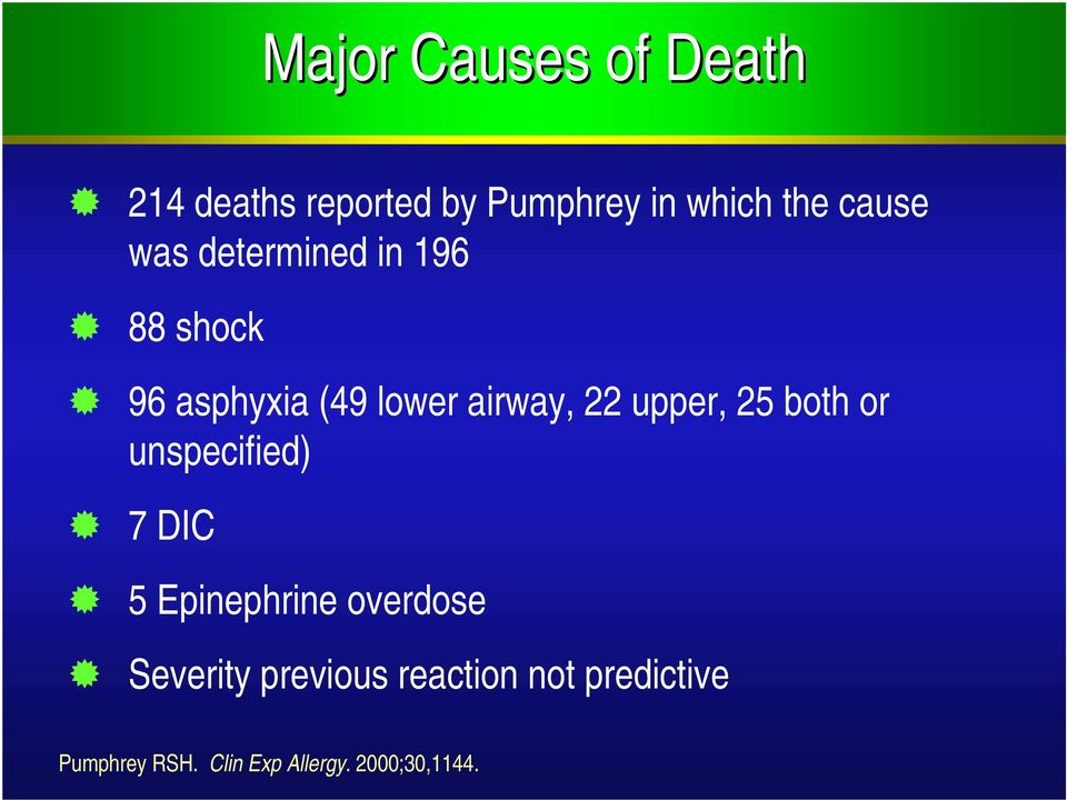 upper, 25 both or unspecified) 7 DIC 5 Epinephrine overdose Severity
