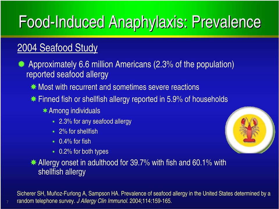 9% of households Among individuals 2.3% for any seafood allergy 2% for shellfish 0.4% for fish 0.2% for both types Allergy onset in adulthood for 39.