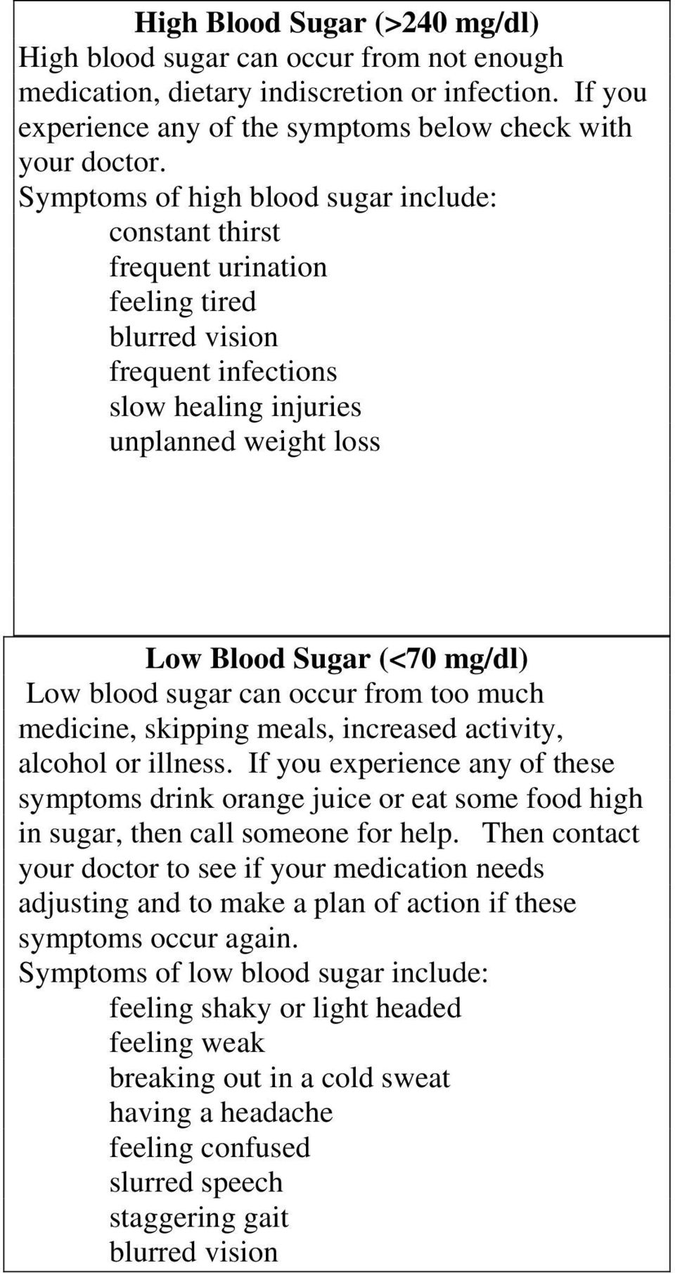 blood sugar can occur from too much medicine, skipping meals, increased activity, alcohol or illness.