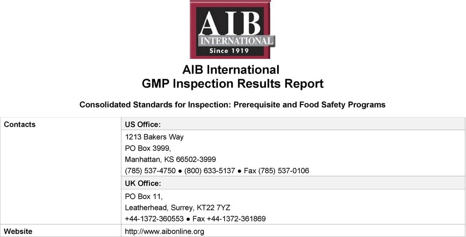 AIB International GMP Inspection Results Report - PDF