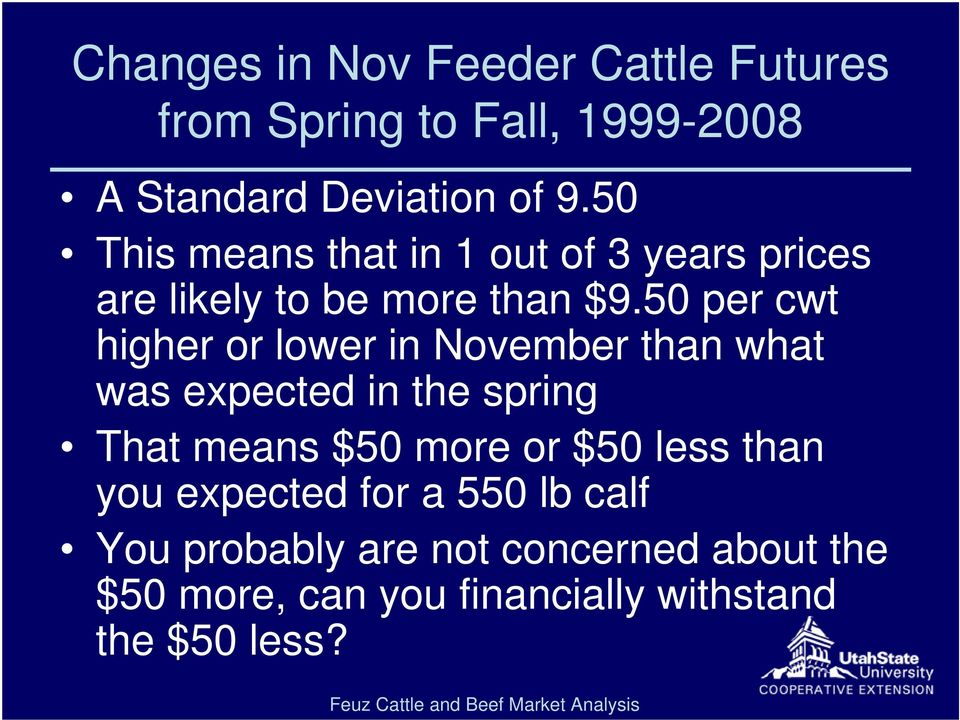 50 per cwt higher or lower in November than what was expected in the spring That means $50 more or
